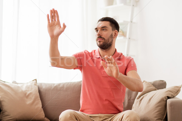 男 触れる 虚数 ホーム バーチャル ストックフォト © dolgachov