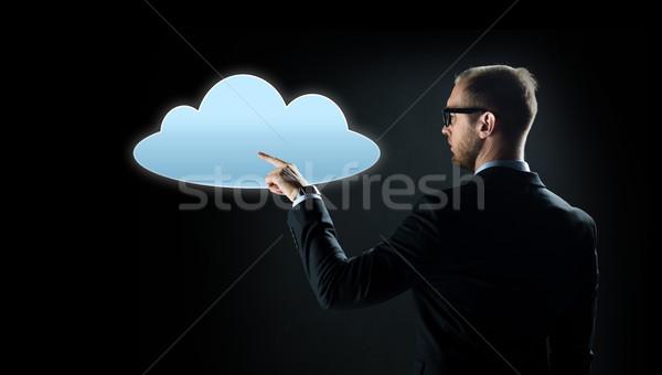 Zakenman wijzend vinger wolk projectie business Stockfoto © dolgachov