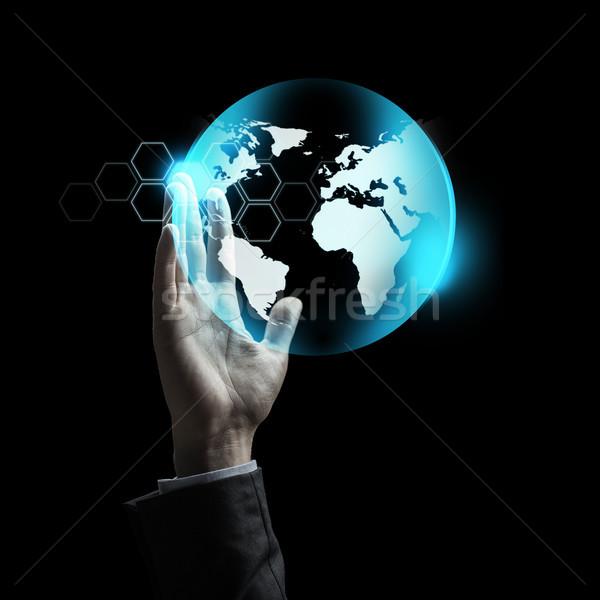 бизнесмен стороны земле проекция деловые люди Сток-фото © dolgachov
