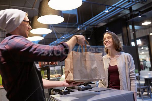 продавец клиентов вегетарианский кафе малый бизнес Сток-фото © dolgachov