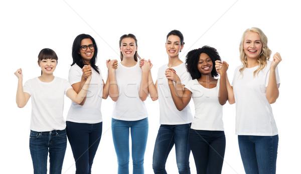 Stockfoto: Internationale · groep · gelukkig · glimlachend · vrouwen · diversiteit
