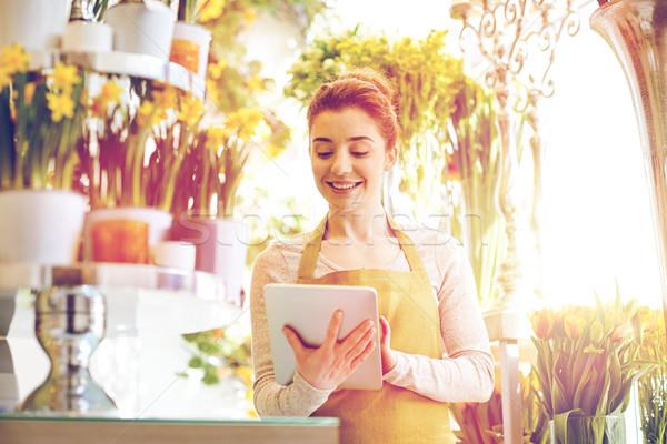 女性 コンピュータ 花屋 人 ビジネス ストックフォト © dolgachov