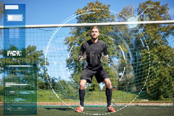 goalkeeper or soccer player at football goal Stock photo © dolgachov