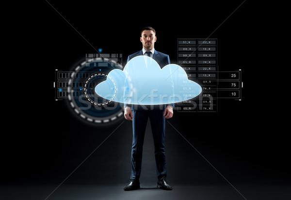 Empresário terno virtual nuvem holograma pessoas de negócios Foto stock © dolgachov
