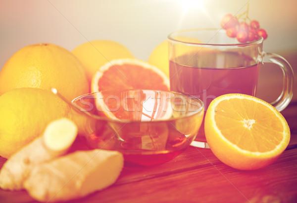 Té miel limón jengibre madera salud Foto stock © dolgachov