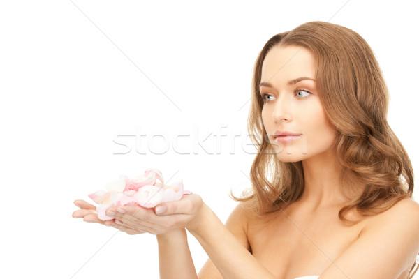美人 バラの花びら 画像 女性 少女 顔 ストックフォト © dolgachov