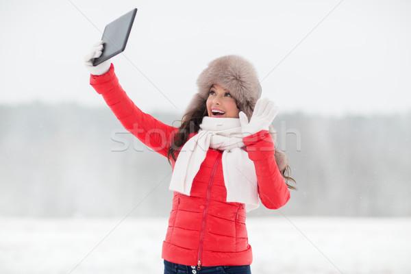 женщину зима мех Hat улице Сток-фото © dolgachov