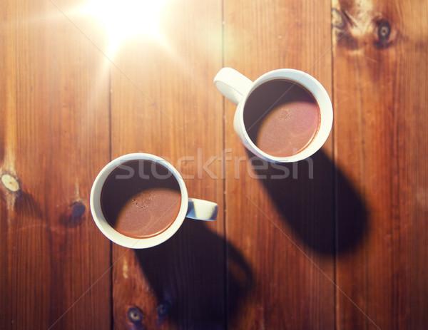 Coppe cioccolata calda bevande legno vacanze inverno Foto d'archivio © dolgachov
