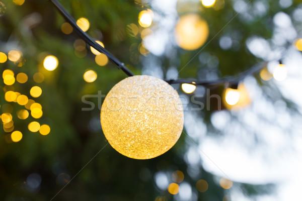 Közelkép karácsonyfa girland villanykörte kint ünnepek Stock fotó © dolgachov
