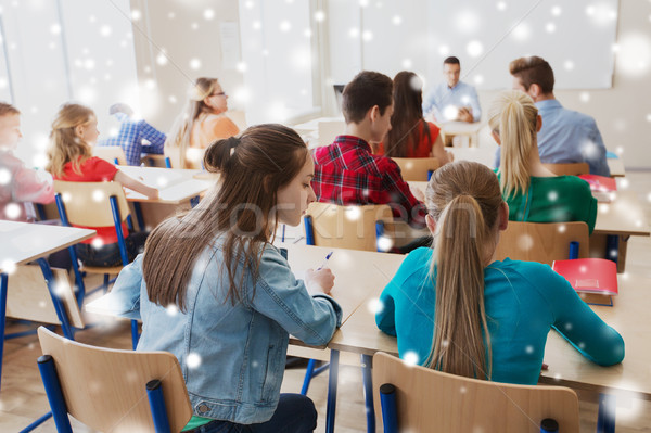 Stock photo: student girl cheating at school test