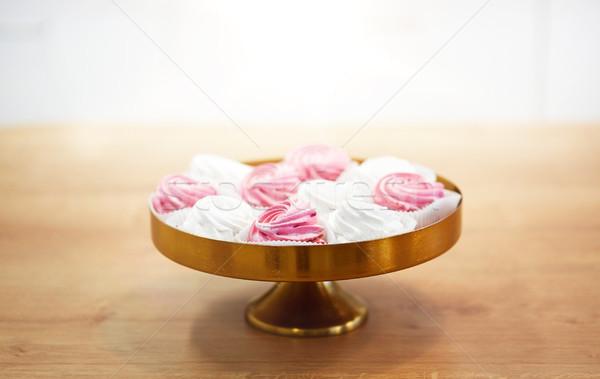 zephyr or marshmallow on cake stand Stock photo © dolgachov