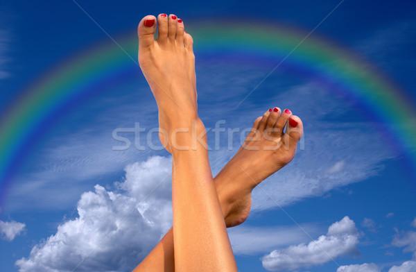 ног небе облака радуга женщины Blue Sky Сток-фото © dolgachov