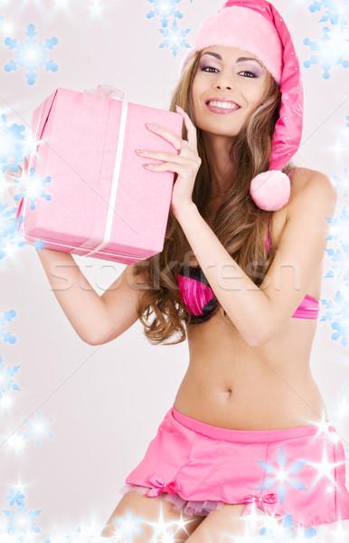 Stock fotó: Derűs · mikulás · segítő · lány · ajándék · doboz · kép