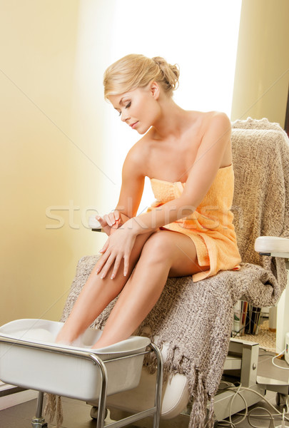 Donna spa salone pedicure bella donna corpo Foto d'archivio © dolgachov