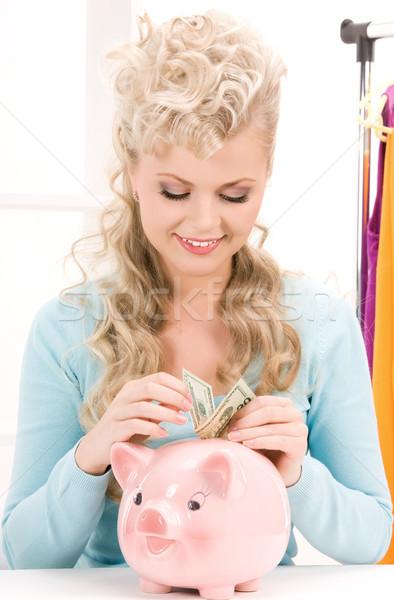 Nő persely pénz kép papír kék Stock fotó © dolgachov