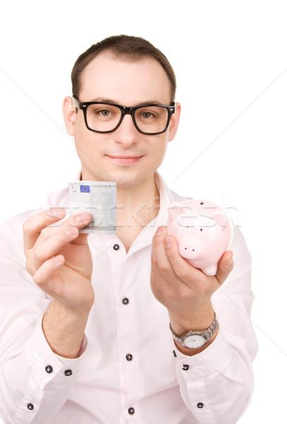 Stock fotó: üzletember · persely · pénz · kép · férfi · boldog