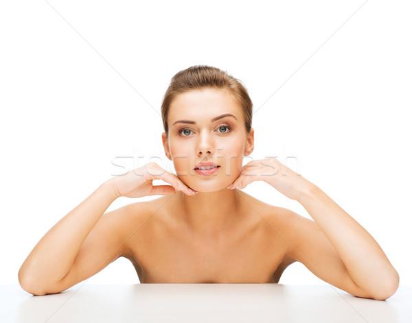 Cara mulher limpar perfeito pele beleza Foto stock © dolgachov