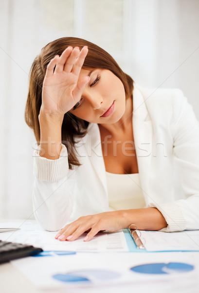 Stockfoto: Vervelen · moe · vrouw · documenten · business · onderwijs