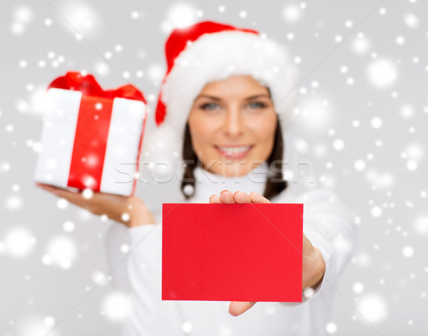 Glimlachende vrouw helper hoed briefkaart christmas Stockfoto © dolgachov