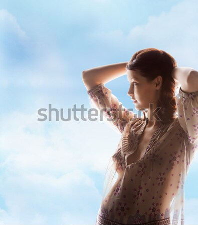 silhouette picture of pregnant beautiful woman Stock photo © dolgachov
