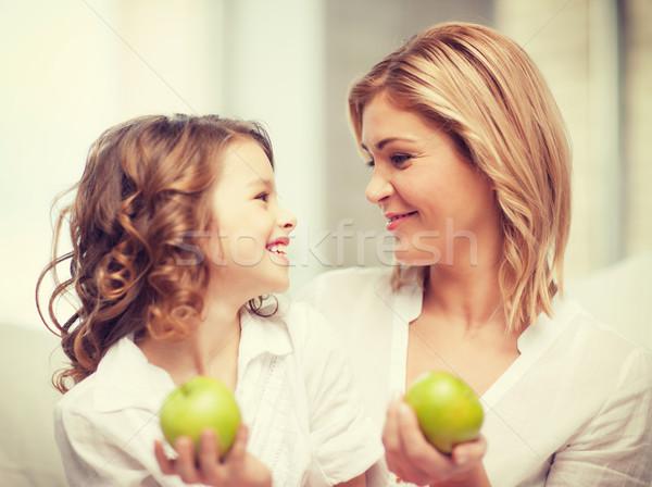Mutter Tochter Bild grünen Äpfel Mädchen Stock foto © dolgachov