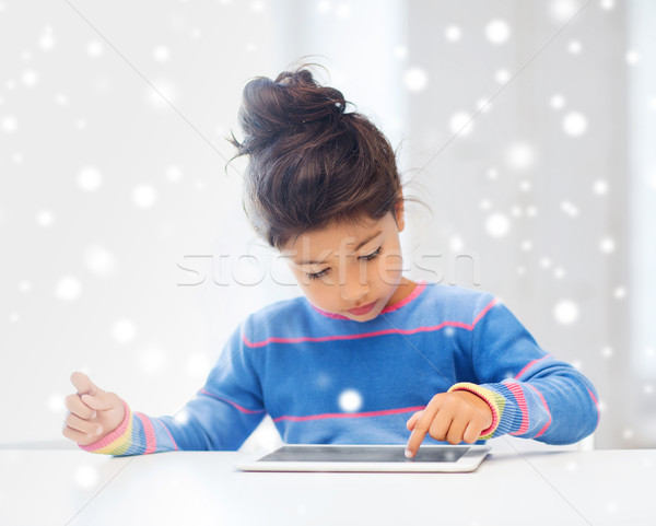 girl with tablet pc at home Stock photo © dolgachov