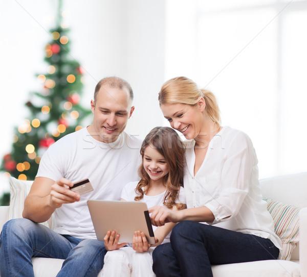 Familia feliz computadoras familia vacaciones tecnología Foto stock © dolgachov