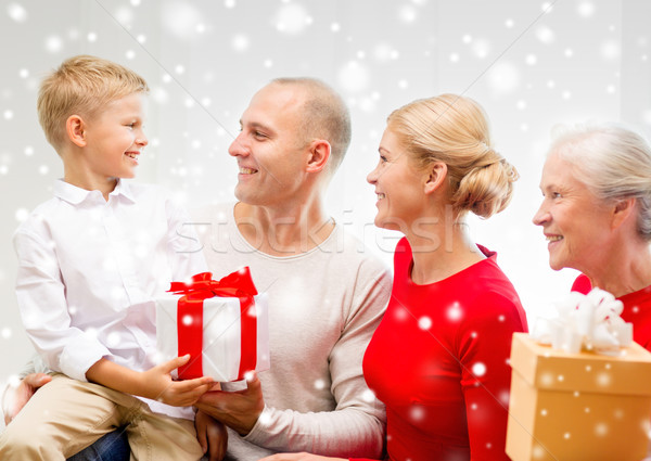 Mosolyog család ajándékok otthon ünnepek generáció Stock fotó © dolgachov