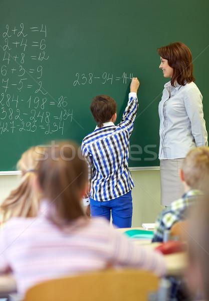 учитель школьник Дать мелом совета образование Сток-фото © dolgachov
