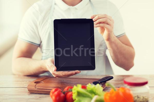Mannelijke handen koken Stockfoto © dolgachov