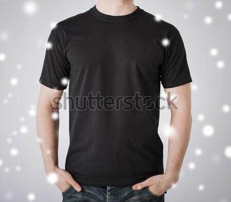 Człowiek tshirt model student mężczyzn Zdjęcia stock © dolgachov