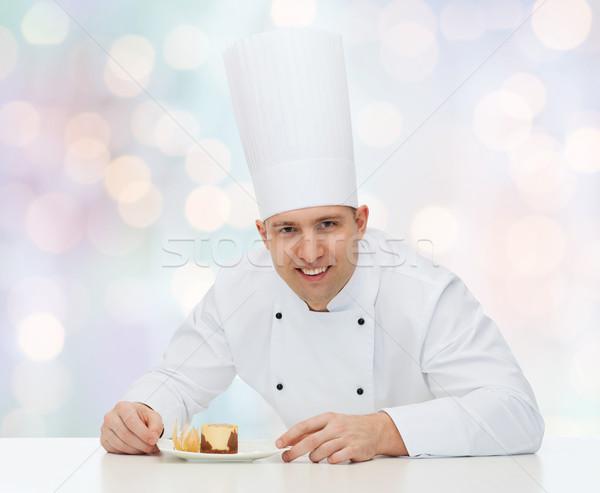 happy male chef cook with dessert Stock photo © dolgachov