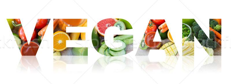 Vegan szó gyümölcsök zöldségek szöveg egészséges étkezés Stock fotó © dolgachov