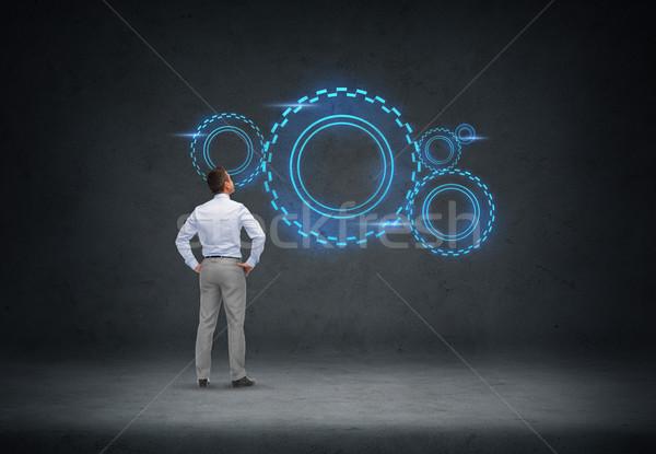 Zakenman naar projectie zakenlieden technologie Stockfoto © dolgachov