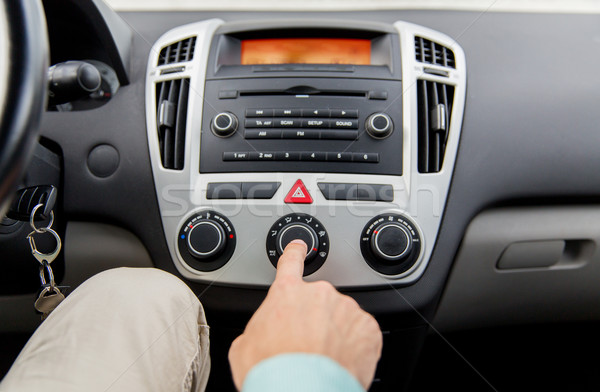 close up of male hand using climate control in car Stock photo © dolgachov