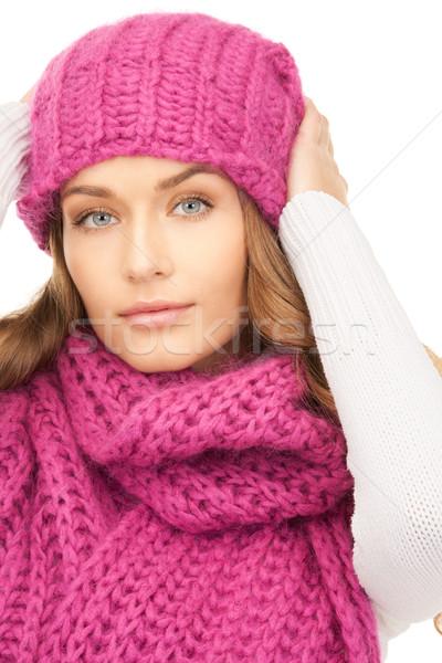 Bella donna inverno Hat foto donna faccia Foto d'archivio © dolgachov