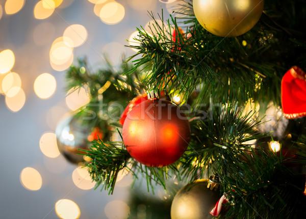 Noel ağacı dekore edilmiş tatil yılbaşı Stok fotoğraf © dolgachov