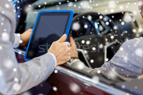 close up of men with tablet pc and cabrio car Stock photo © dolgachov