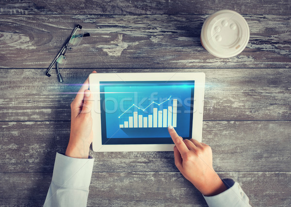 Stock fotó: Közelkép · kezek · táblagép · virtuális · grafikon · üzletemberek
