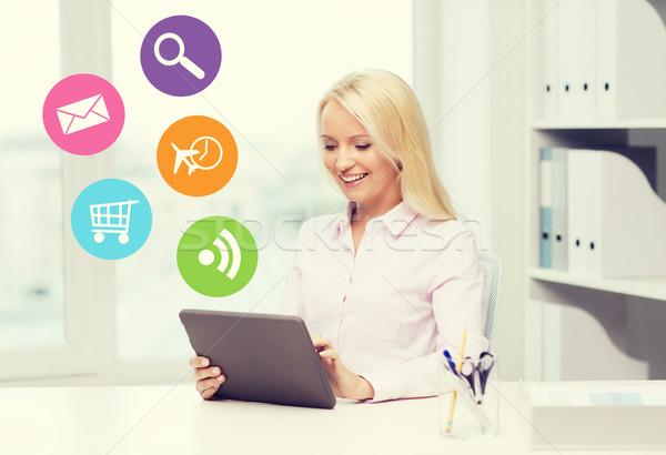 Mosolyog üzletasszony diák táblagép oktatás üzlet Stock fotó © dolgachov