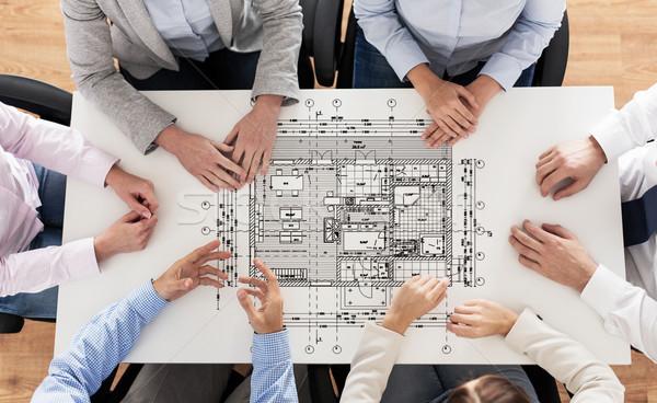 Közelkép üzleti csoport terv üzletemberek építészet csapatmunka Stock fotó © dolgachov