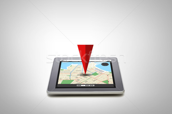 tablet pc with gps navigator map on screen Stock photo © dolgachov