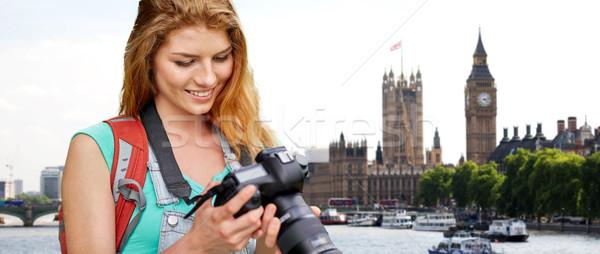 女性 リュックサック カメラ ロンドン ビッグベン 旅行 ストックフォト © dolgachov