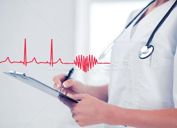 Femenino médico estetoscopio prescripción salud médicos Foto stock © dolgachov