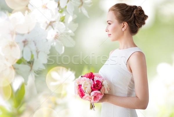 Sposa donna abito bianco fiore vacanze Foto d'archivio © dolgachov
