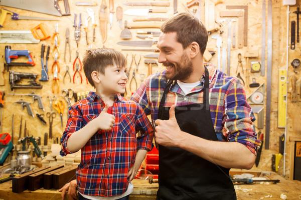 Vader weinig zoon workshop Stockfoto © dolgachov