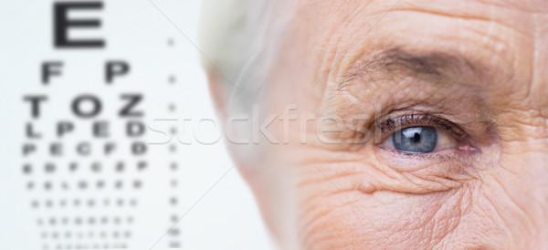 close up of senior woman face and eye Stock photo © dolgachov