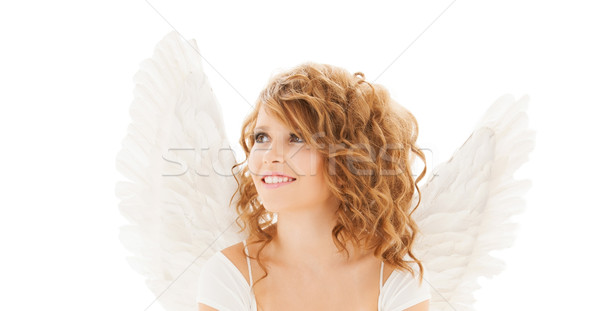 Foto stock: Feliz · mulher · jovem · menina · adolescente · asas · de · anjo · pessoas · férias