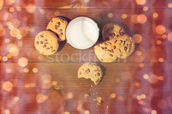 Natale avena cookies latte tavolo in legno cottura Foto d'archivio © dolgachov