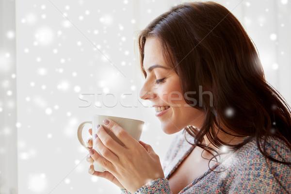 Stockfoto: Gelukkig · vrouw · beker · thee · koffie · home